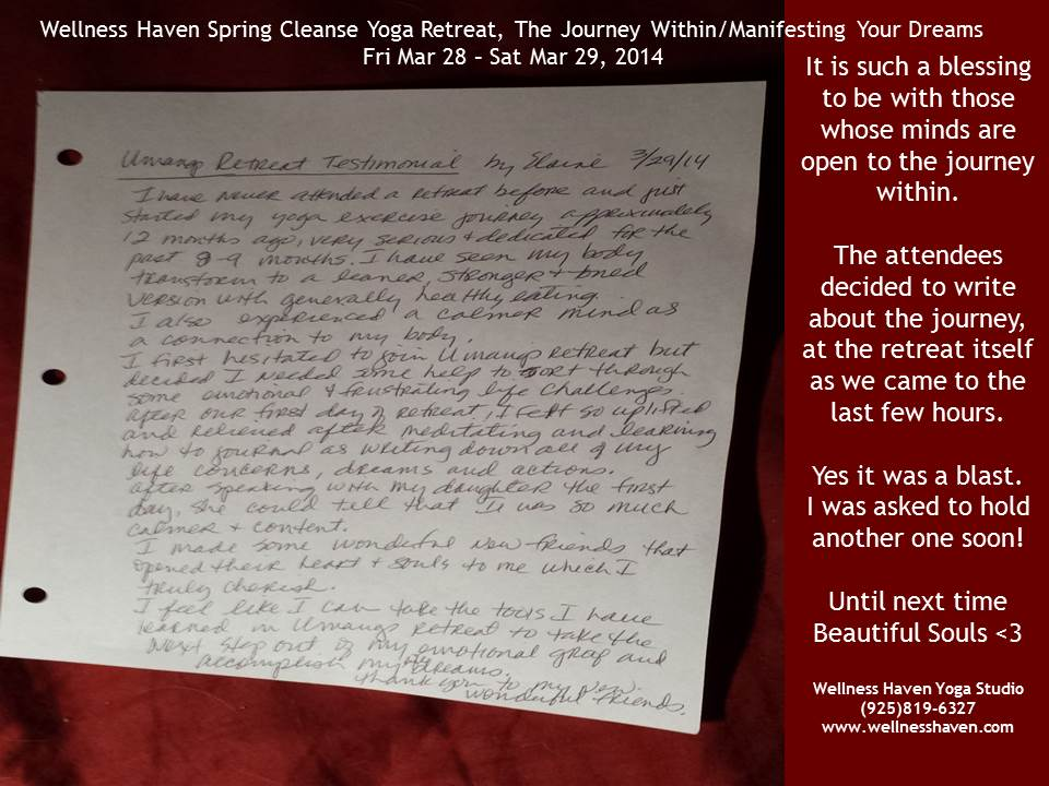 Elaine Testimonial for Spring Cleanse Retreat
